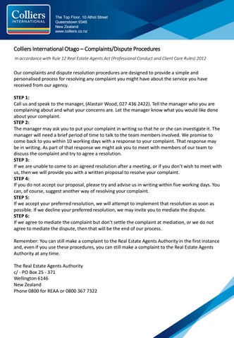 Colliers Complaints Procedure by Colliers Otago - issuu