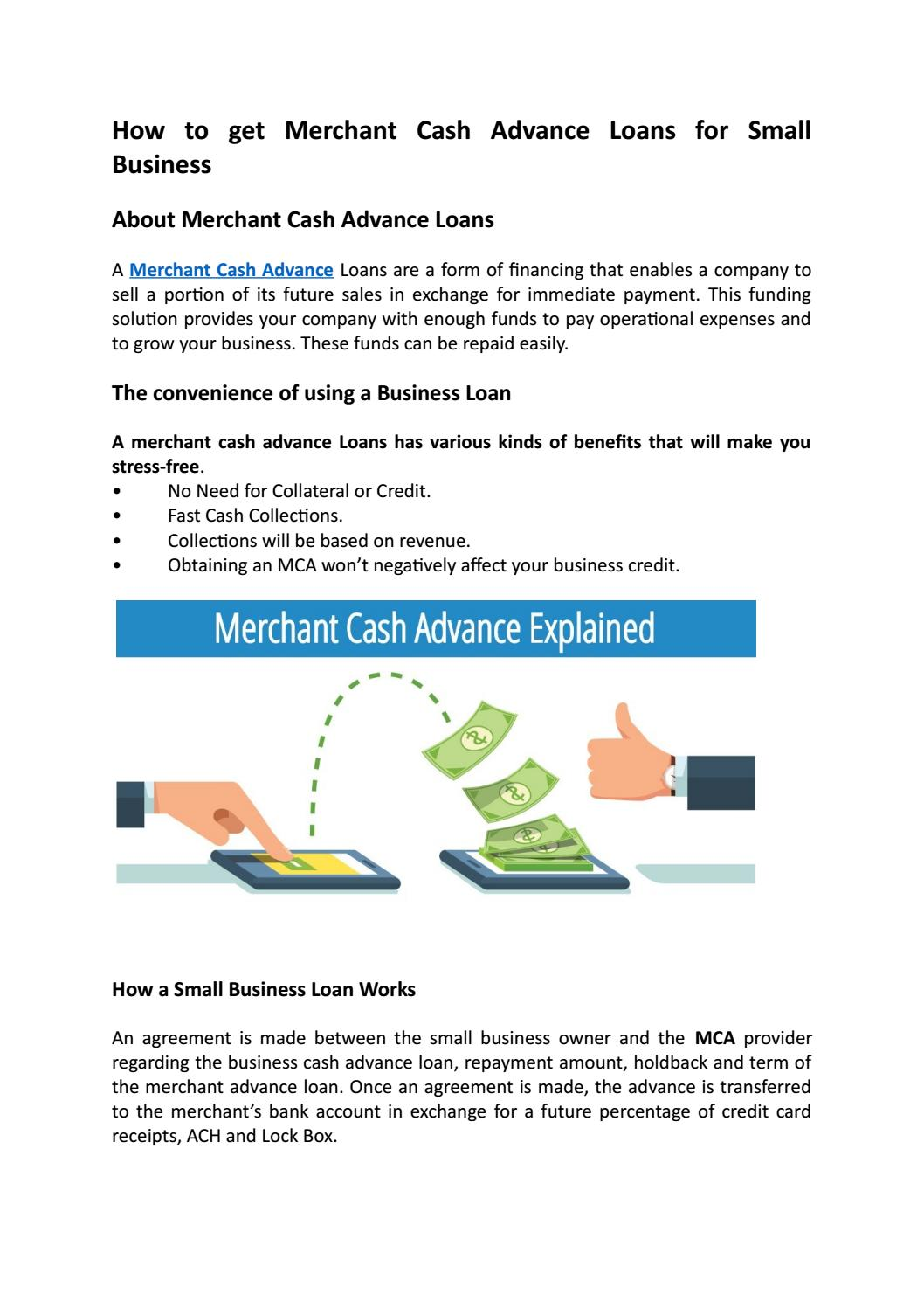 How to get merchant cash advance loans for small business by