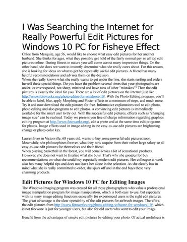 Edit Pictures for Windows 10 PC for Optimizing Photos by pulashel