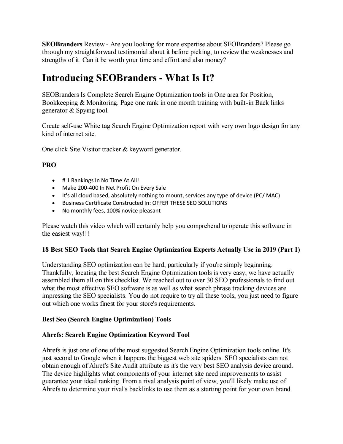 SEOBranders Review Should We Grab It by richardlarue - issuu