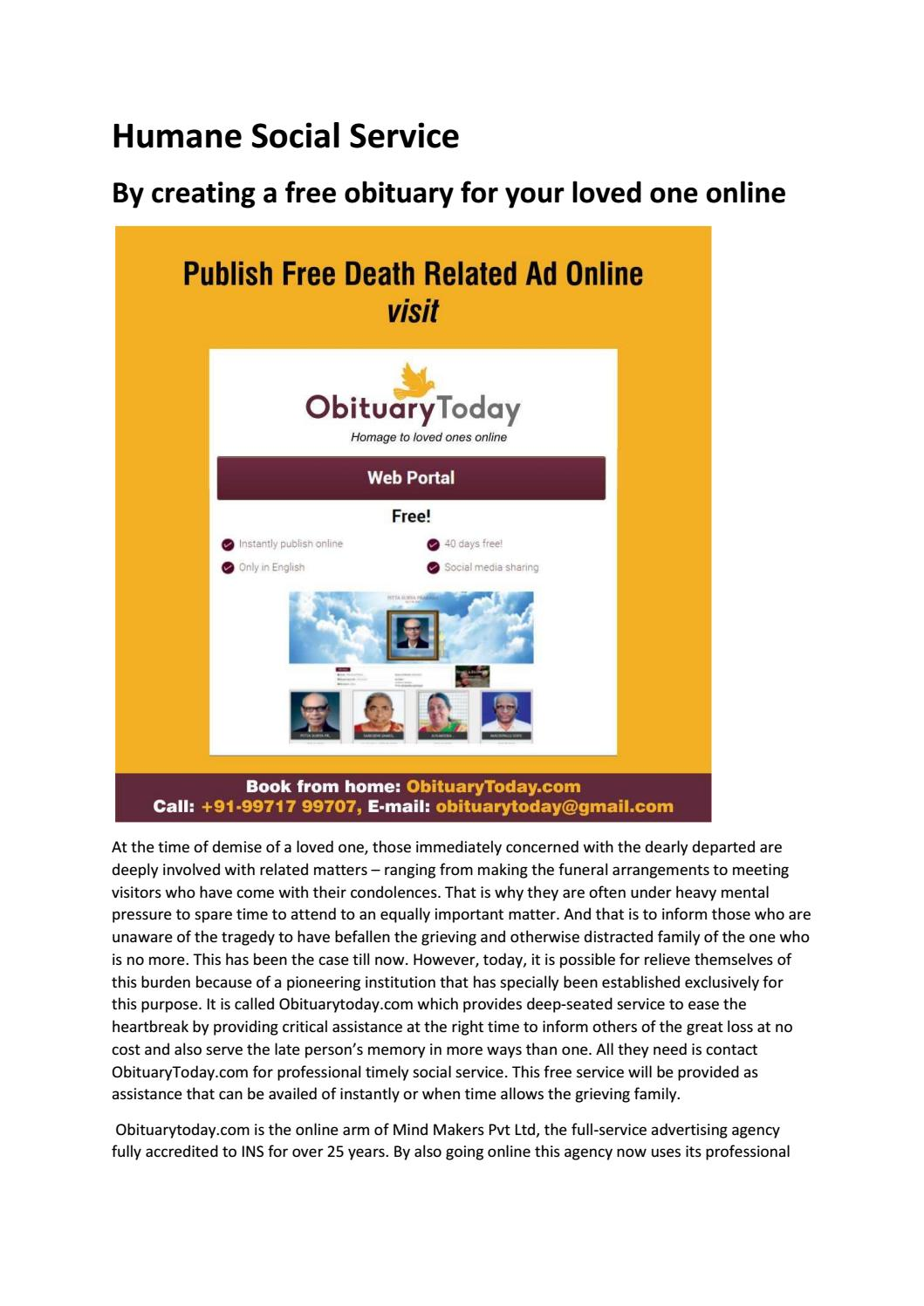 By creating a free obituary for your loved one online by
