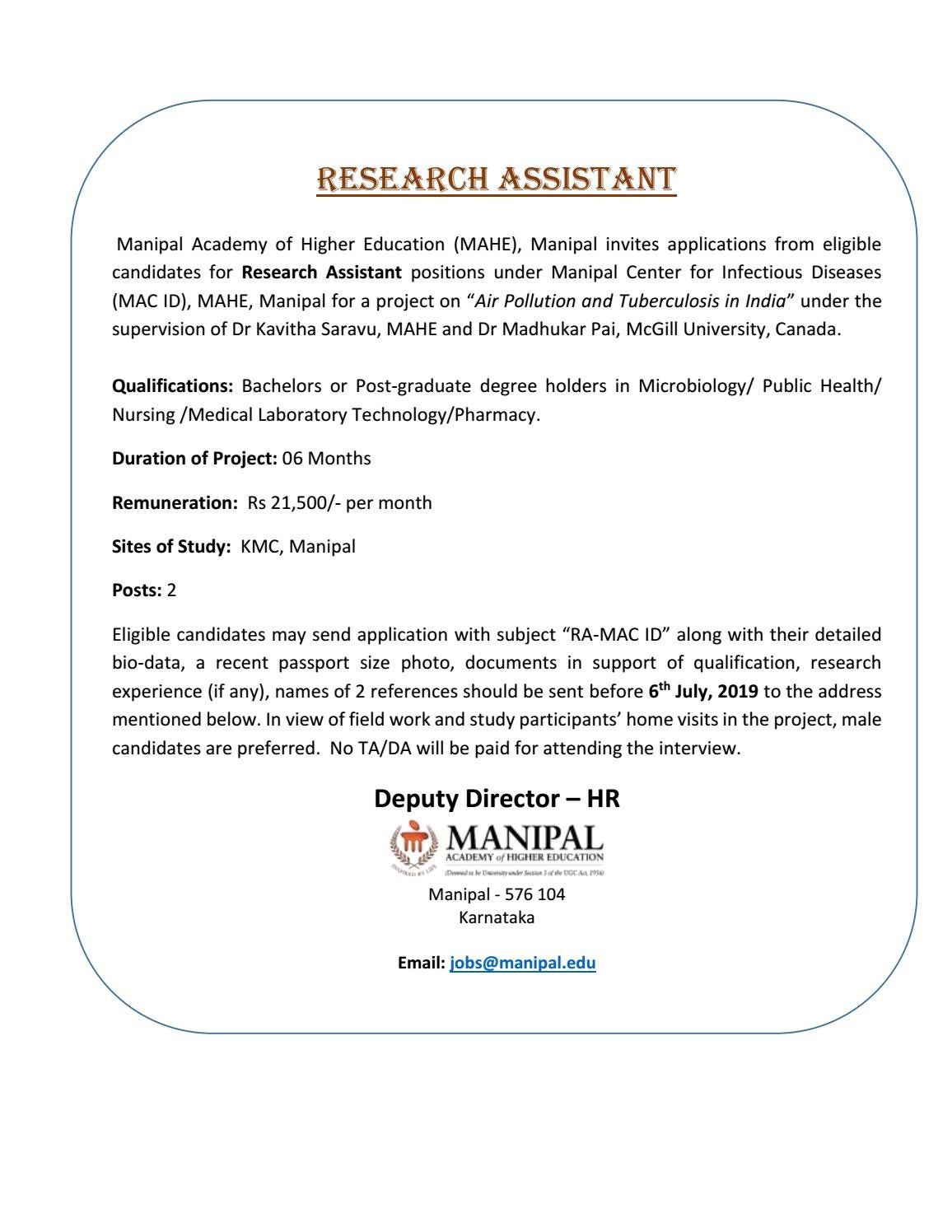MAHE Manipal Research Assistant Jobs - Microbiology Apply by