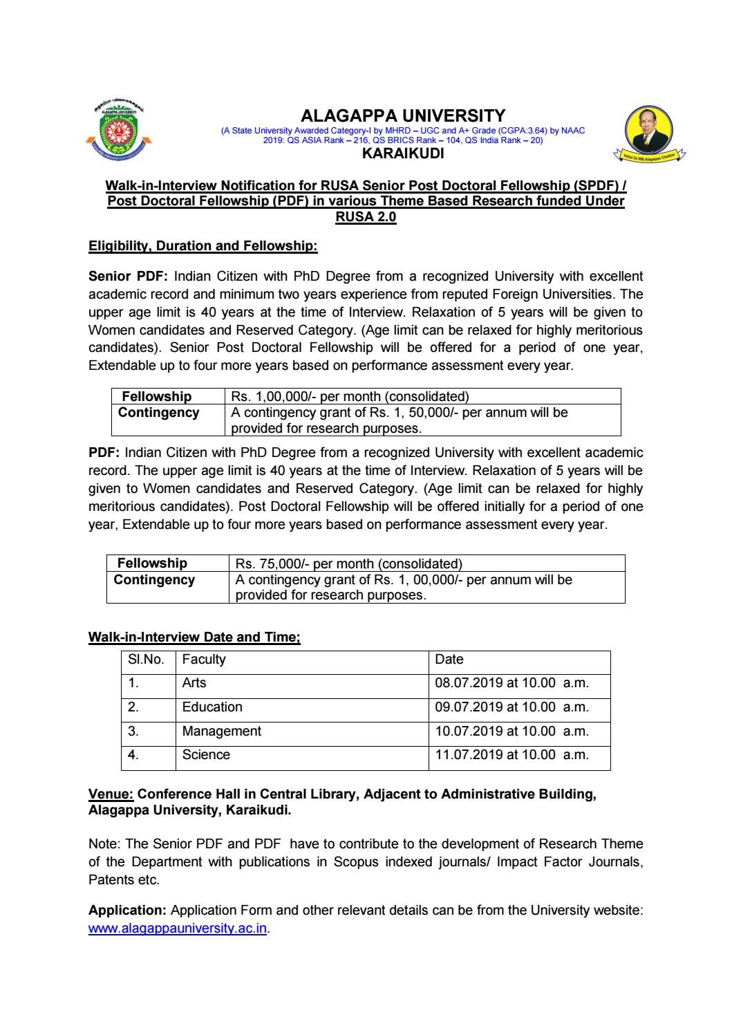 Biological Sciences Fellowship of Rs  1 Lakh pm Under RUSA
