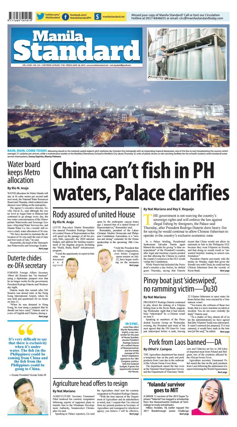 Manila Standard - 2019 June 28 - Friday by Manila Standard