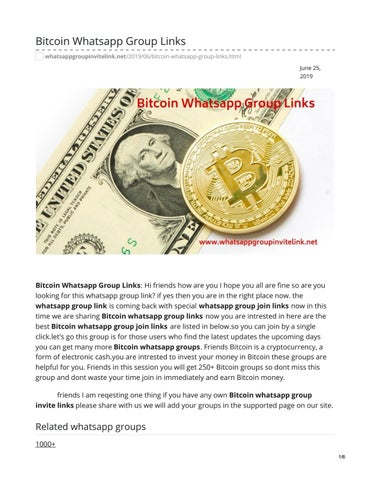 Bitcoin cryptocurrency whatsapp group