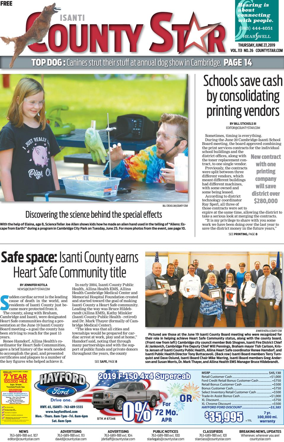 Isanti County Star June 27, 2019 by Isanti-Chisago County