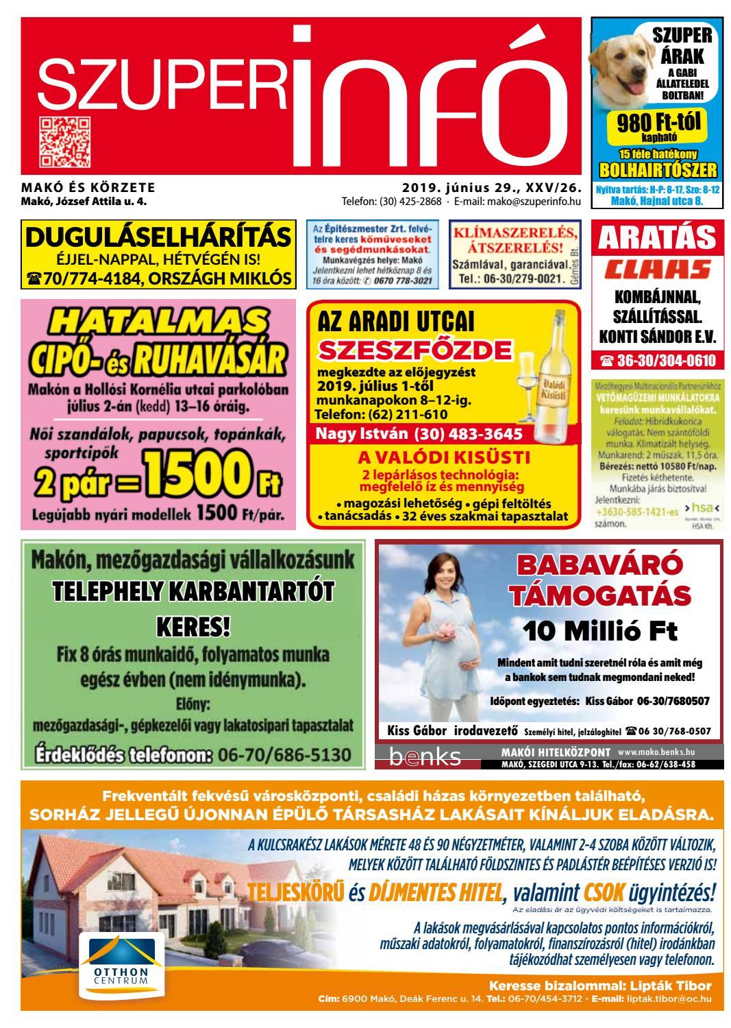 Ácsmunka négyzetméter árak 2018