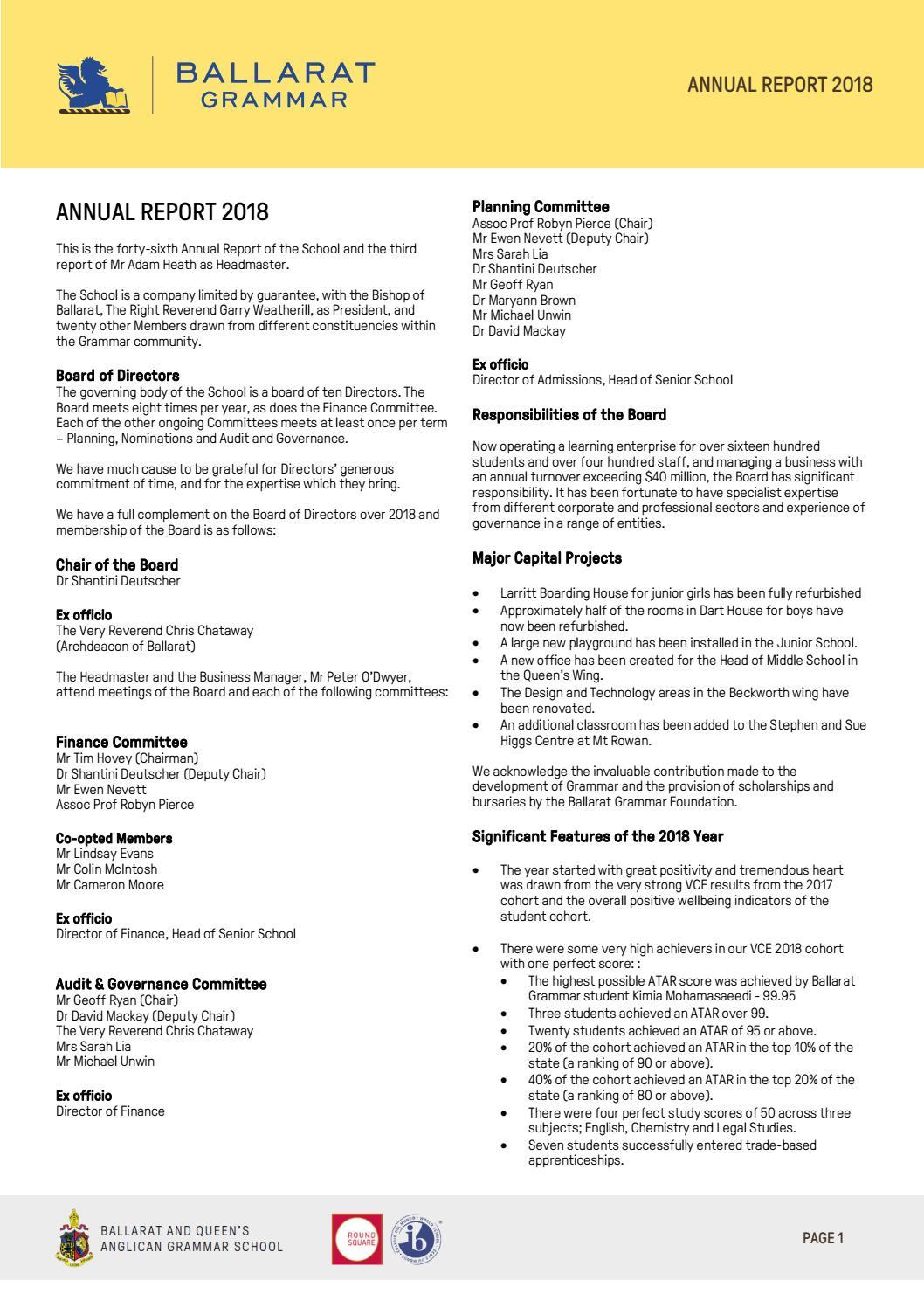 Ballarat Grammar Annual Report 2018 by ballaratgrammar - issuu