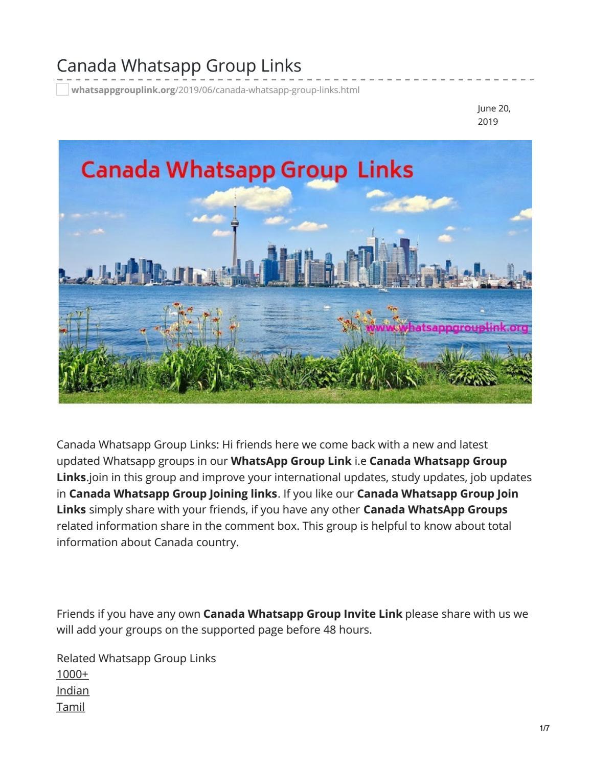 Canada Whatsapp Group Links by whatsappgrouplinks77 - issuu