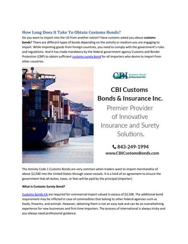 How Long Does It Take To Obtain Customs Bonds? by Samuel Clark - issuu