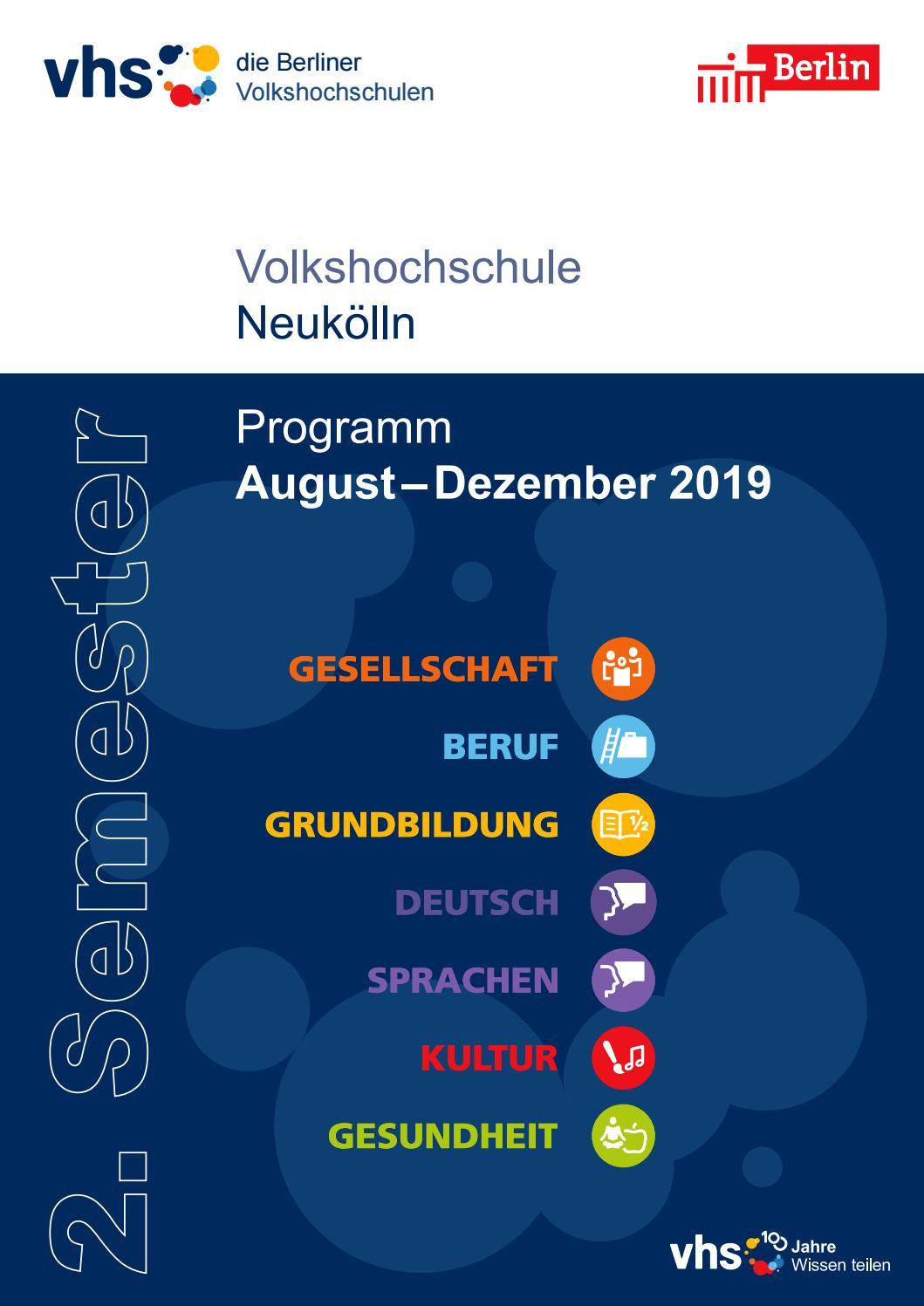 Lehrplan 2 Semester 2019 Vhs Neukölln Berlin By Sinissey