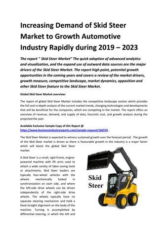 Increasing Demand of Skid Steer Market to Growth Automotive