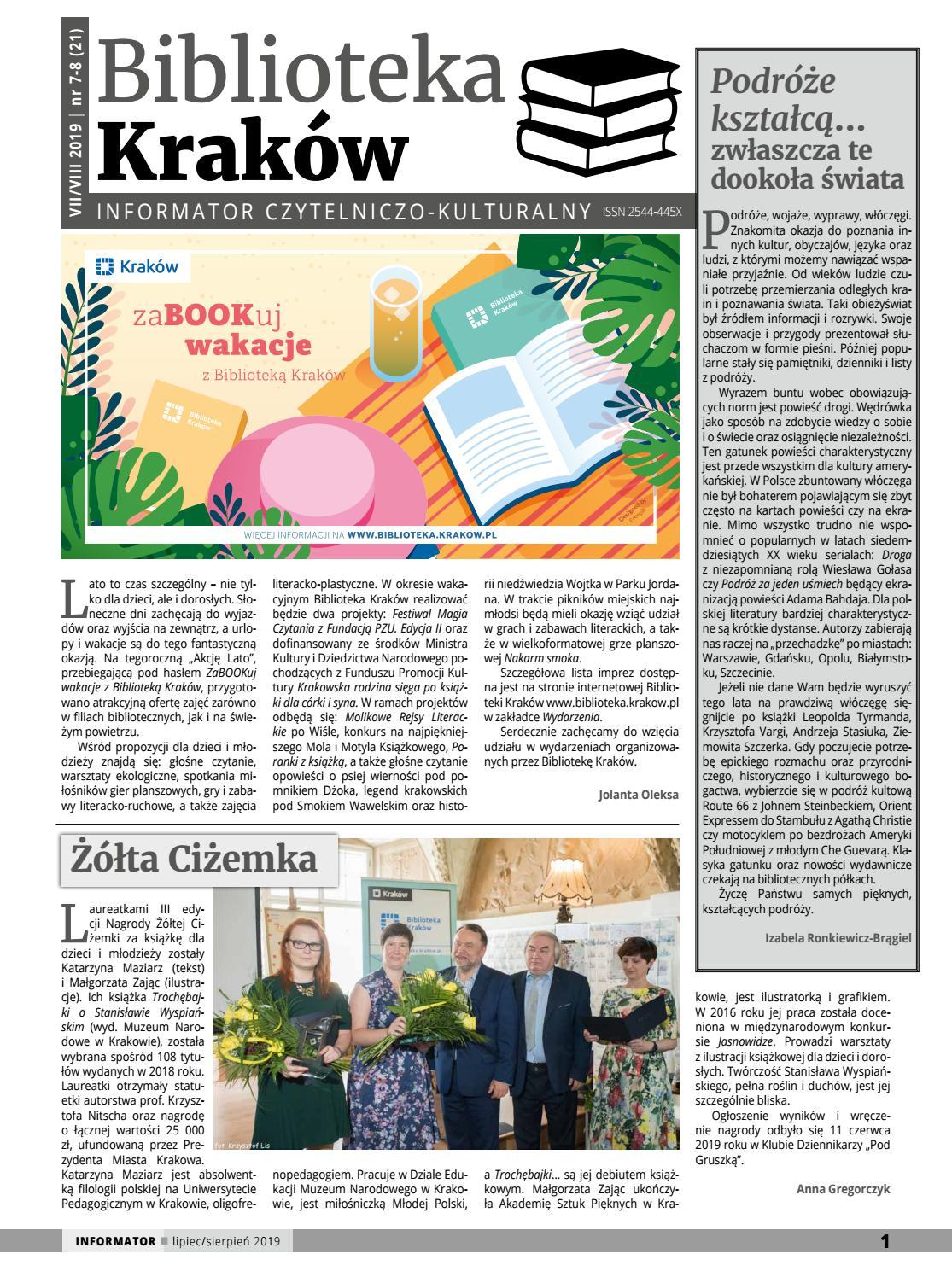 Biblioteka Kraków Informator Czytelniczo Kulturalny Lipiec