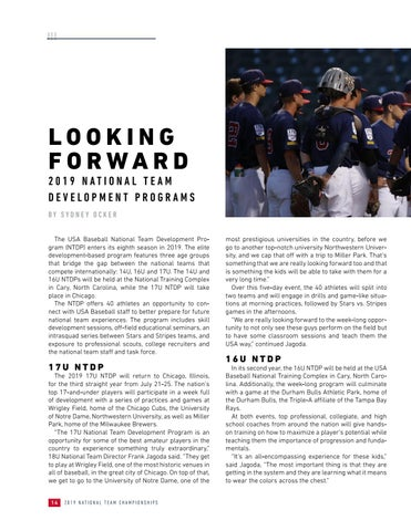 Page 16 of Looking Forward to the 2019 National Team Development Programs