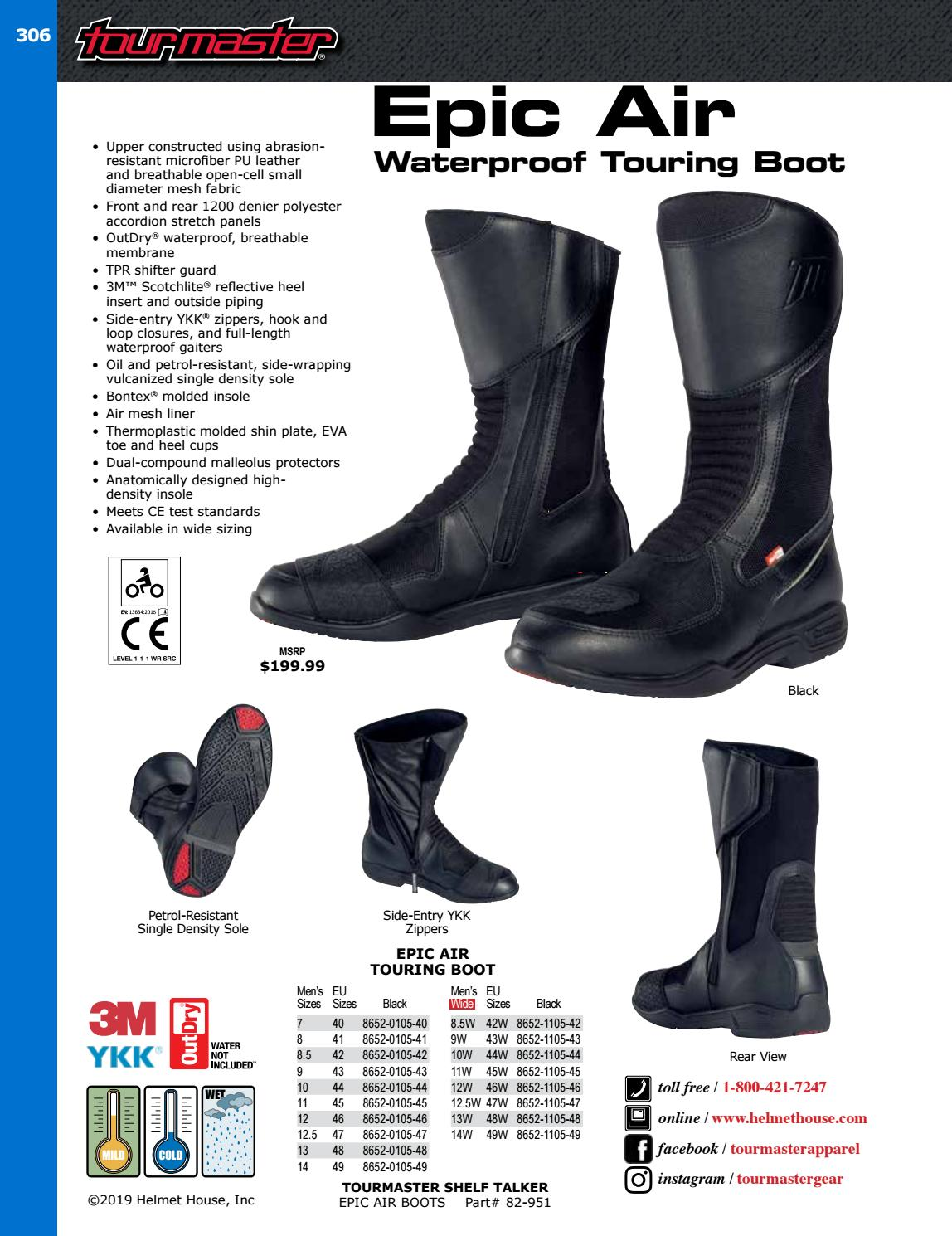 Black, Size 12.5W TourMaster Mens Epic Air Touring Motorcycle Boots