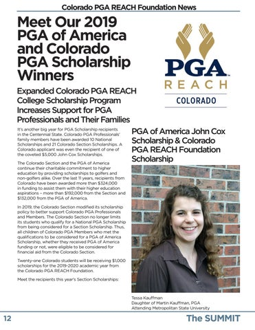 Page 12 of PGA of America and Colorado PGA REACH Foundation Scholarships Announced