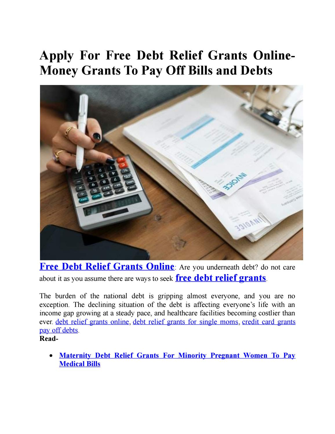 Apply For Free Debt Relief Grants Online-Money Grants To Pay