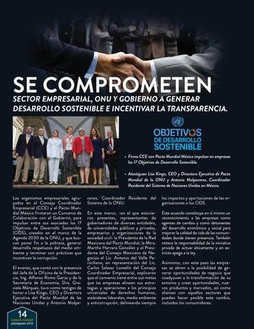 Page 14 of CCE, Pacto Mundial México y Gobierno se comprometen con los ODS
