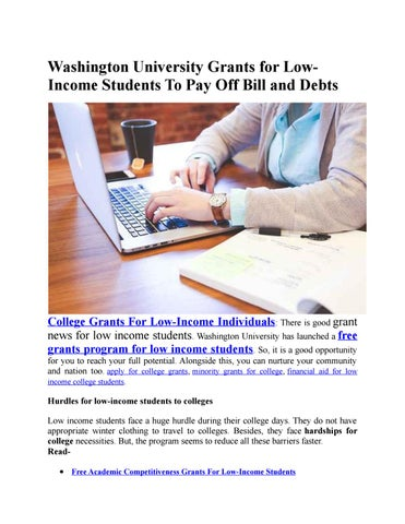 Grants For College >> Washington University Grants For Low Income Students To Pay