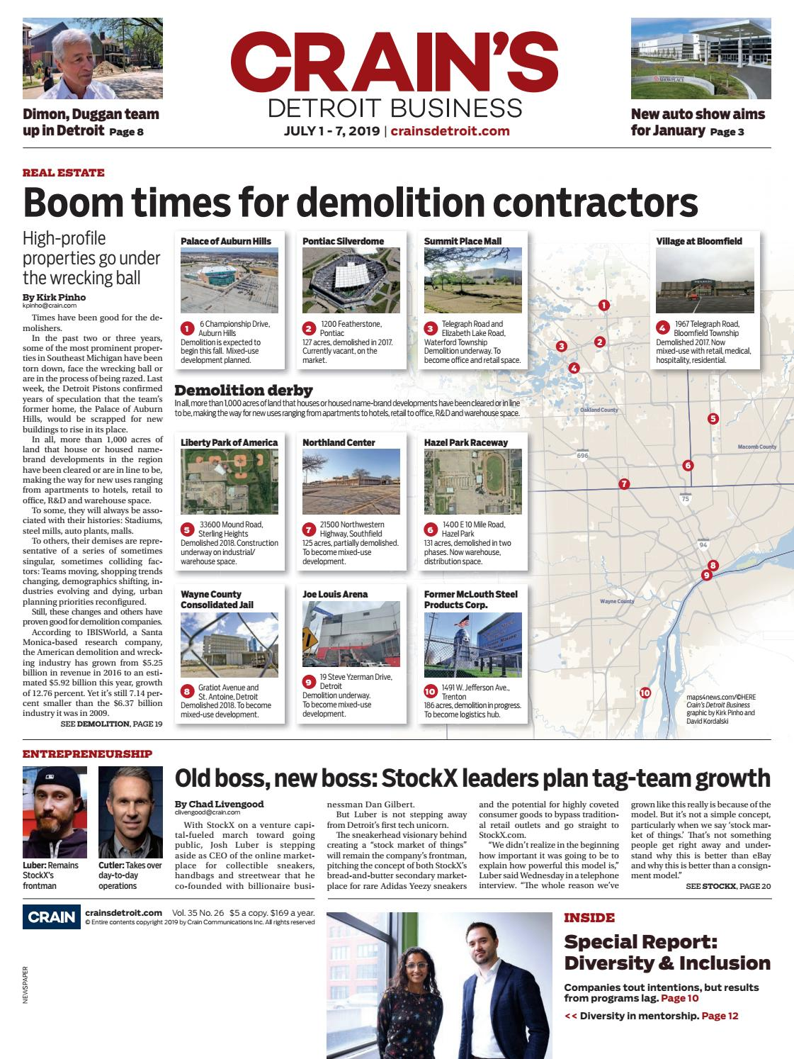 Crain's Detroit Business, July 1, 2019 issue by Crain's