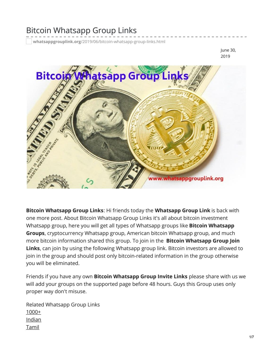 bitcoin whatsapp group)