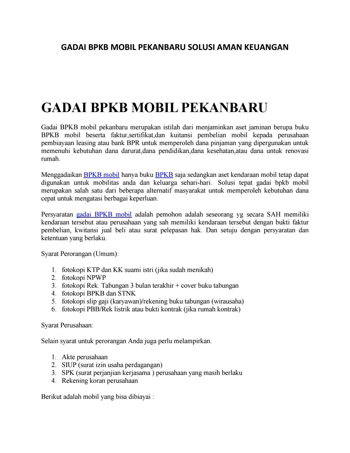 Gadai Bpkb Mobil Pekanbaru By Pembiayaan Bpkb Issuu