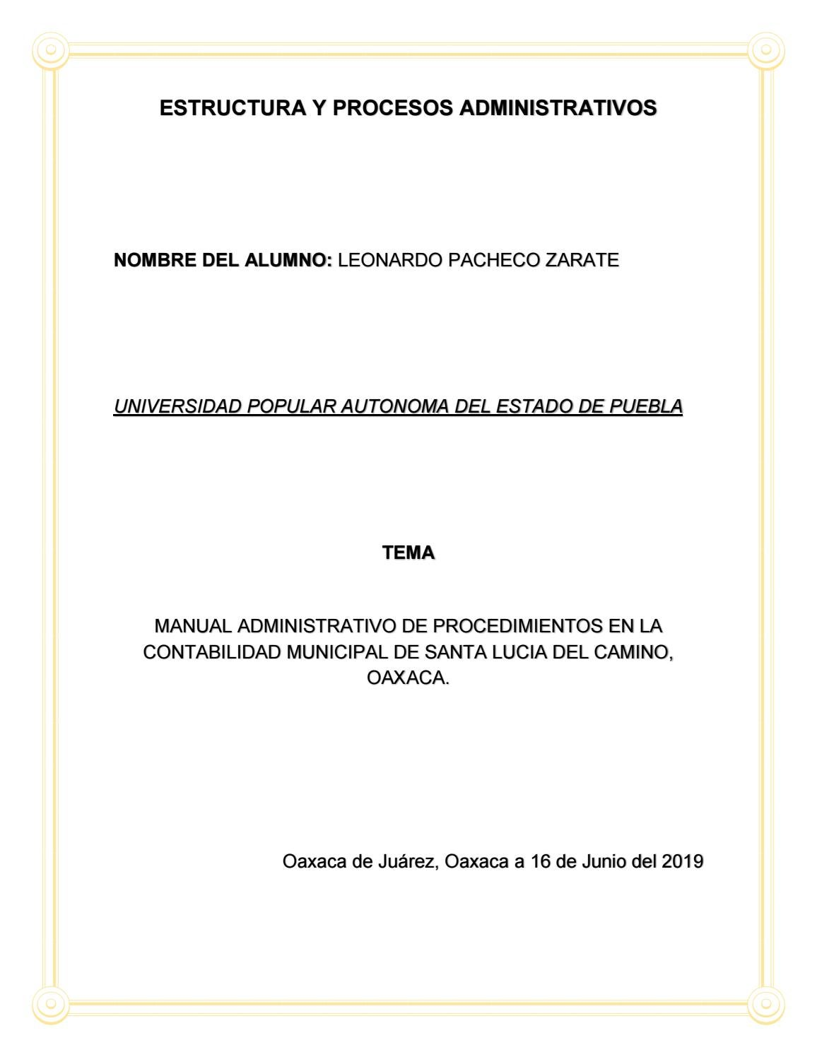Trabajo Final Del Manual De Procedimientos By Leonardo