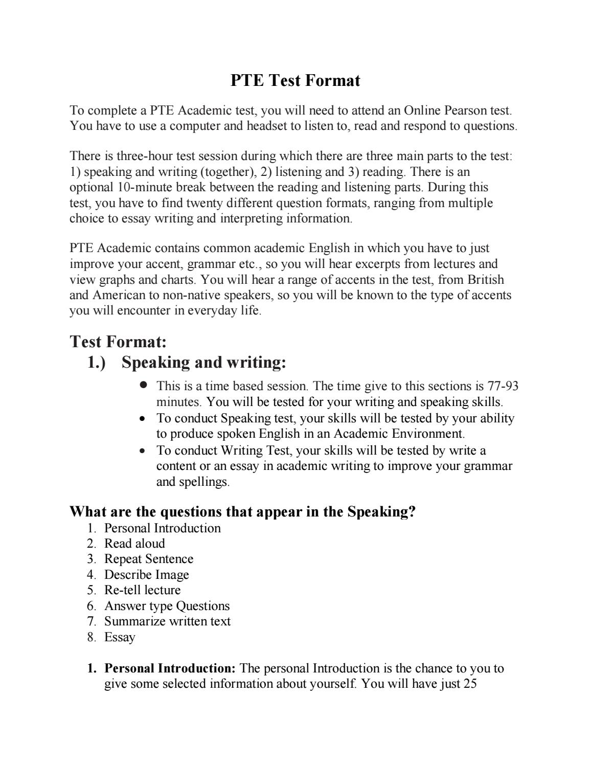 PTE Academics: Practice Test for PTE with their PTE Test