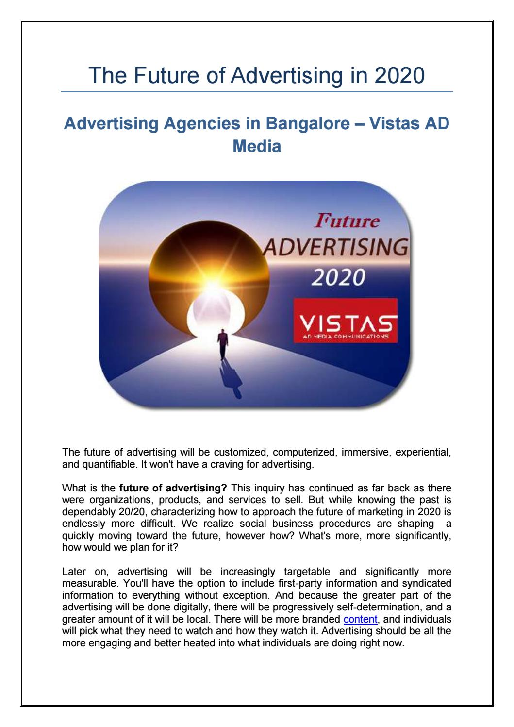 The Future of Advertising in 2020 by vistasadindia - issuu