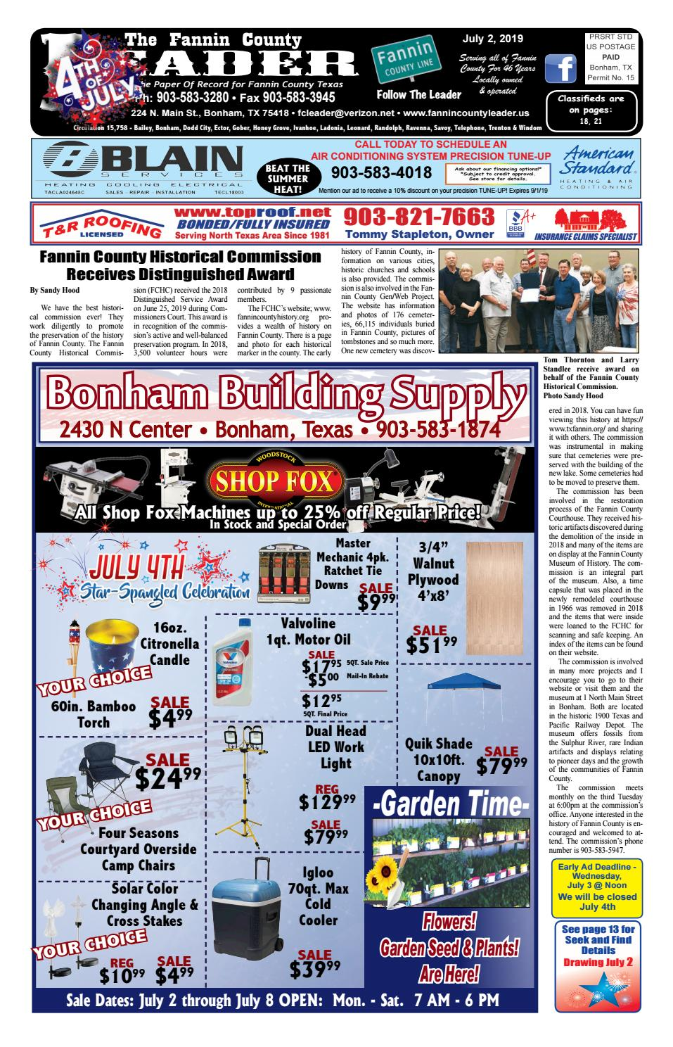 7-2-19 Leader E-Edition by The Fannin County Leader - issuu