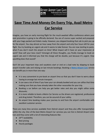 Metro Cars Detroit >> Save Time And Money On Every Trip Avail Metro Car Service