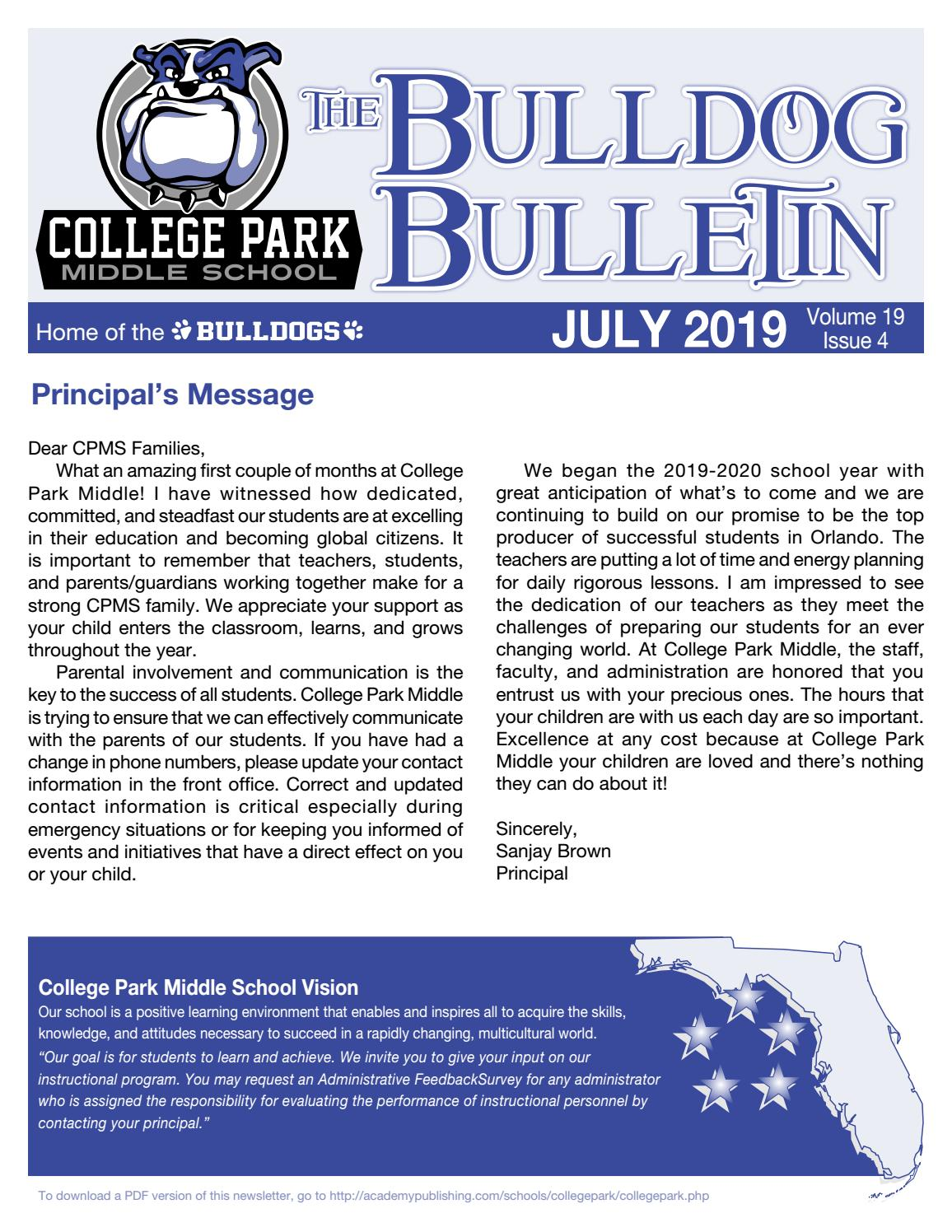 College Park Middle School Newsletter by Academy Publishing, Inc