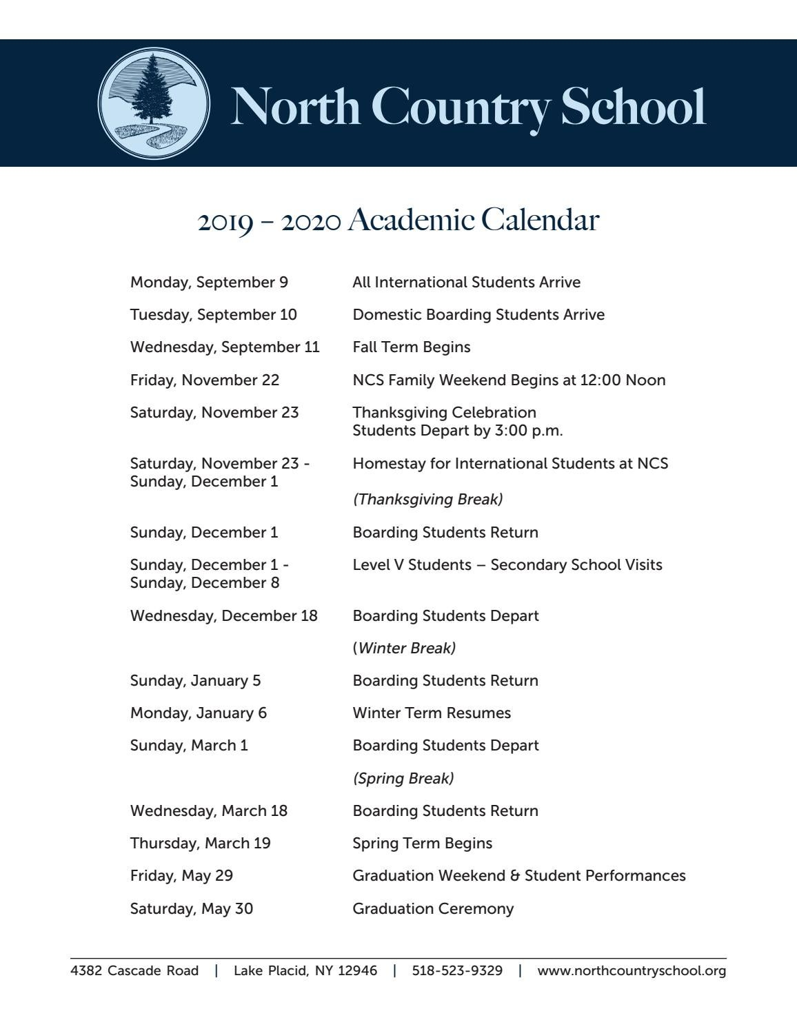 Spring 2020 Academic Calendar.North Country School 2019 2020 Academic Calendar By North Country