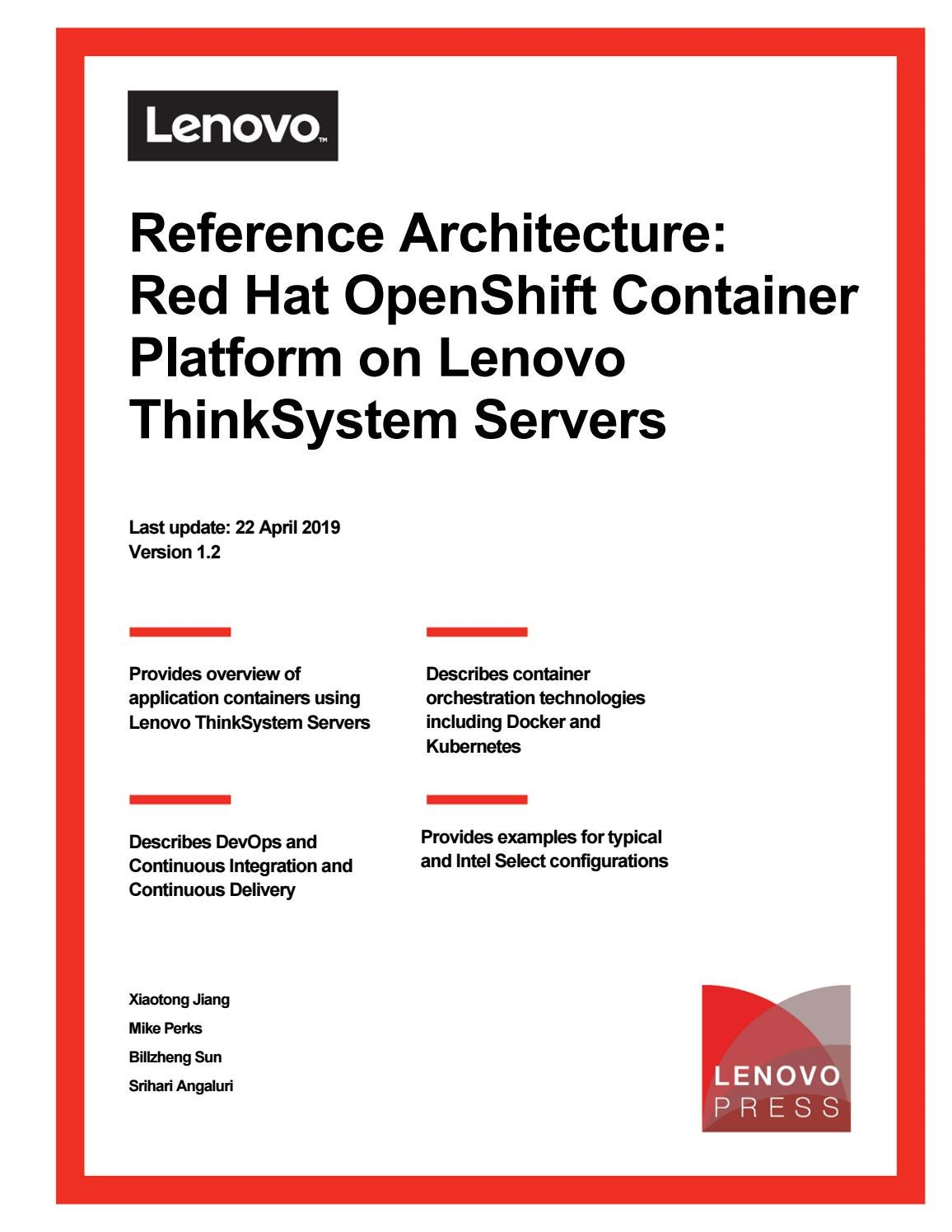 Reference Architecture: Red Hat OpenShift Container Platform
