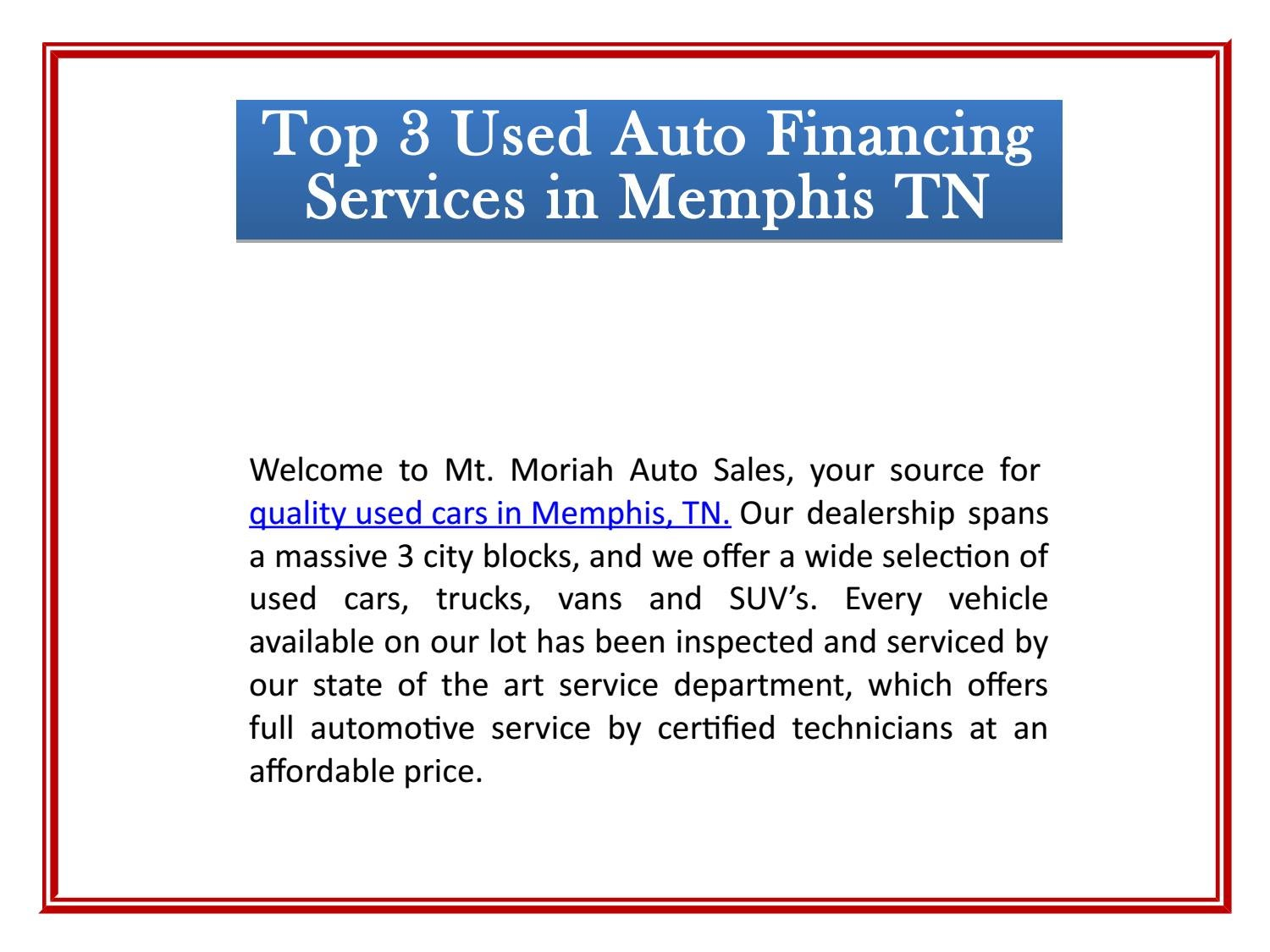 Mt Moriah Auto Sales >> Top 3 Used Auto Financing Services In Memphis Tn By