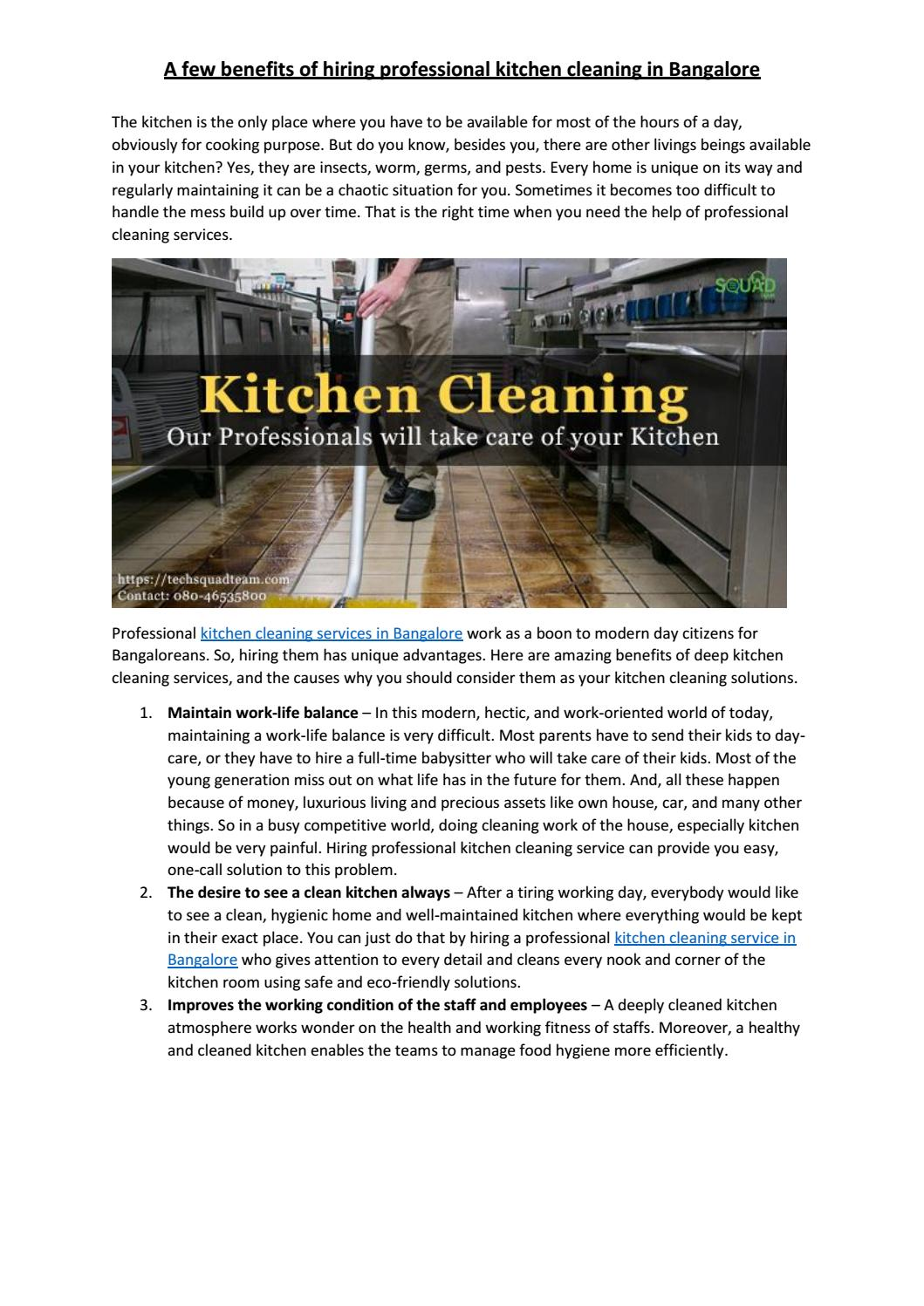 A few benefits of hiring professional kitchen cleaning in ...