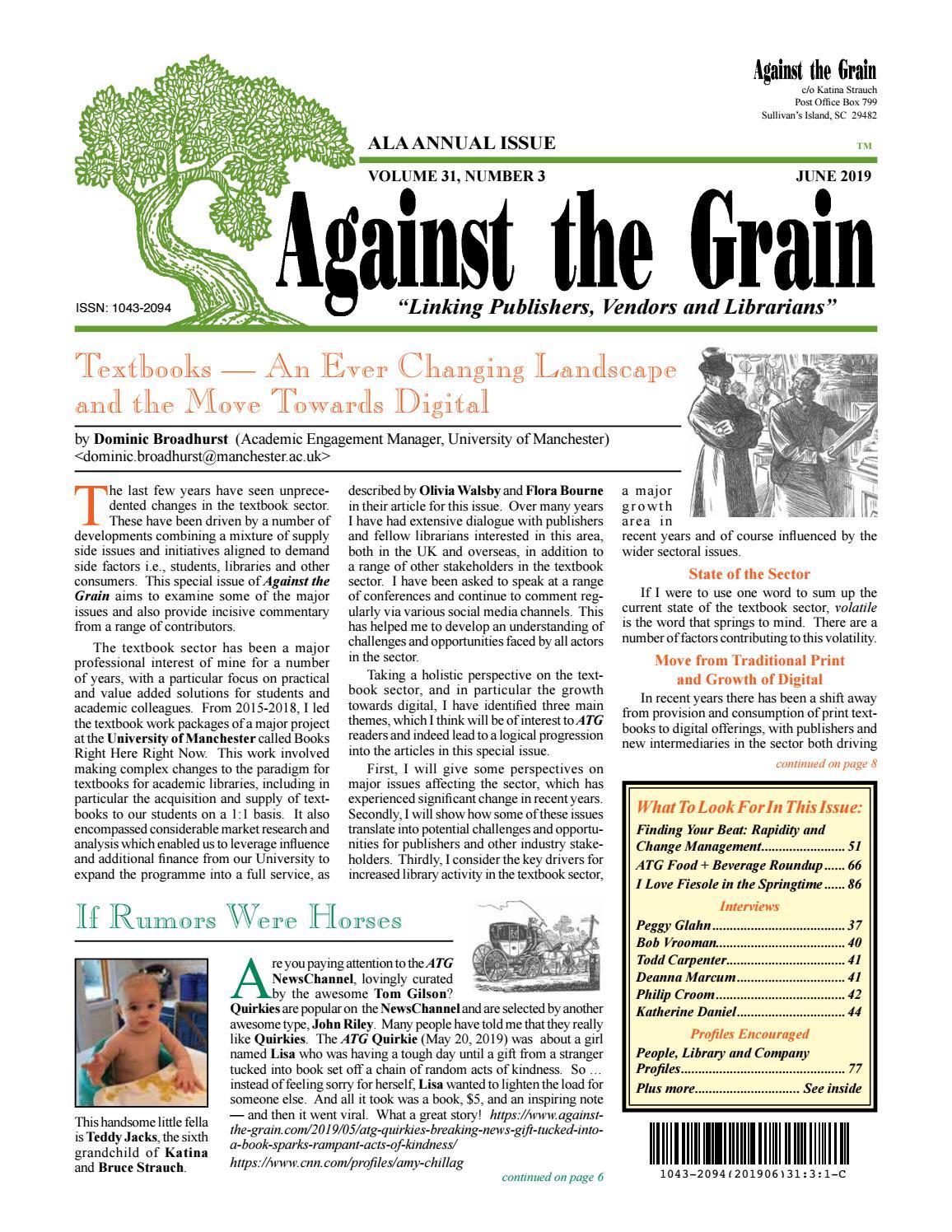 Against the Grain v31 #3 June 2019 by against-the-grain - issuu
