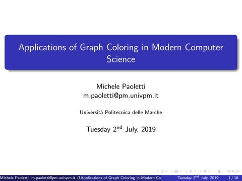 Applications Of Graph Coloring In Modern Computer Science