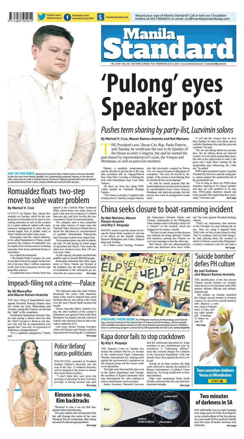 Manila Standard - 2019 July 3 - Wednesday by Manila Standard - issuu