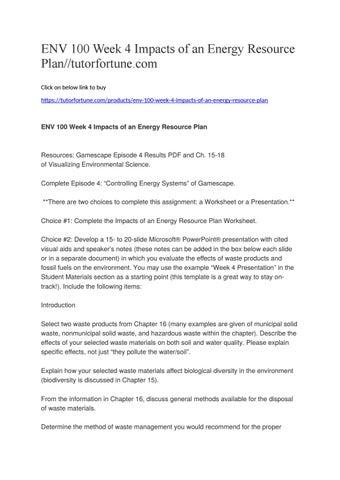 ENV 100 Week 4 Impacts of an Energy Resource Plan ...