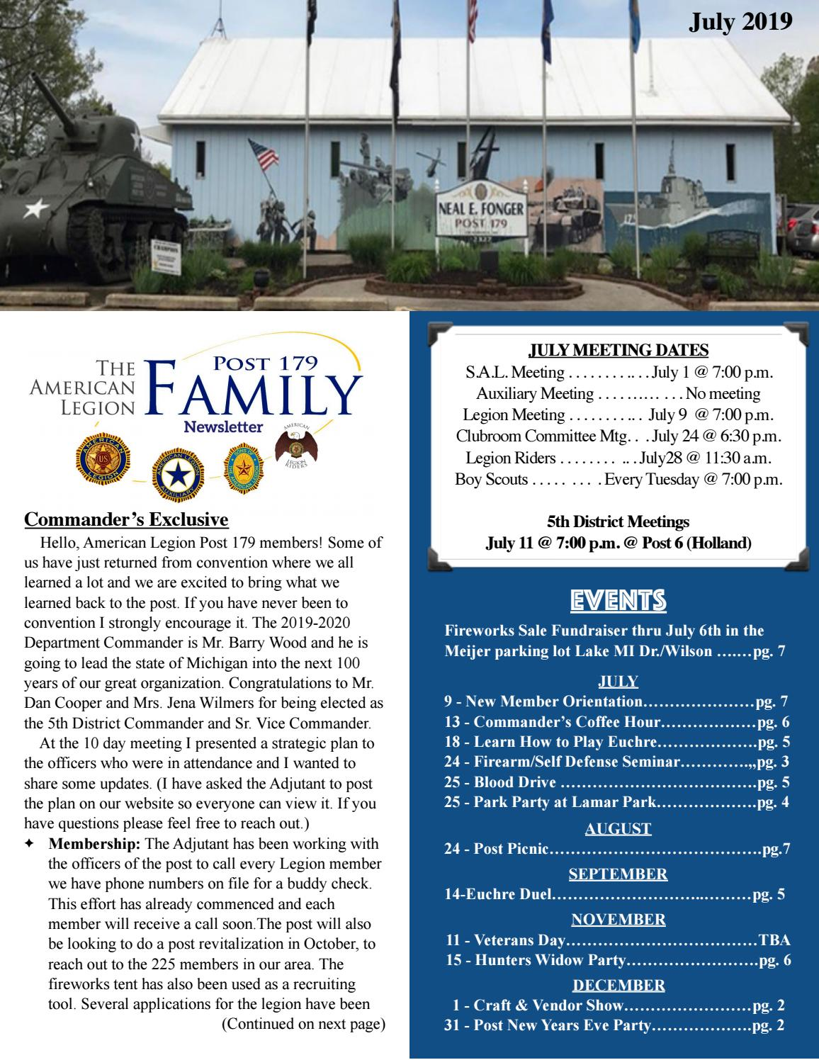 July Newsletter by American Legion Post 179 - issuu