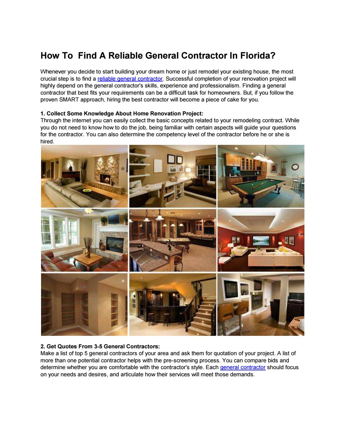 Find A Contractor >> How To Find A Reliable General Contractor In Florida By Mark