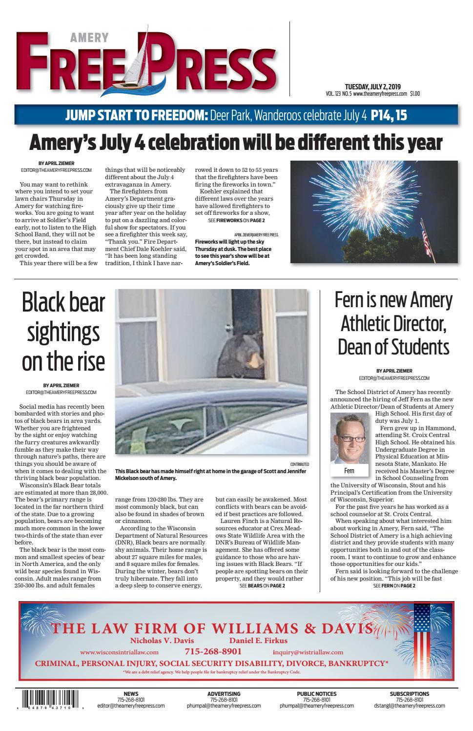 Amery Free Press July 2, 2019 by Amery Free Press - issuu