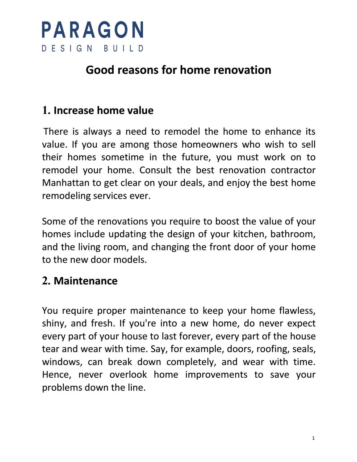 Good Reasons For Home Renovation By Paragon Design Issuu