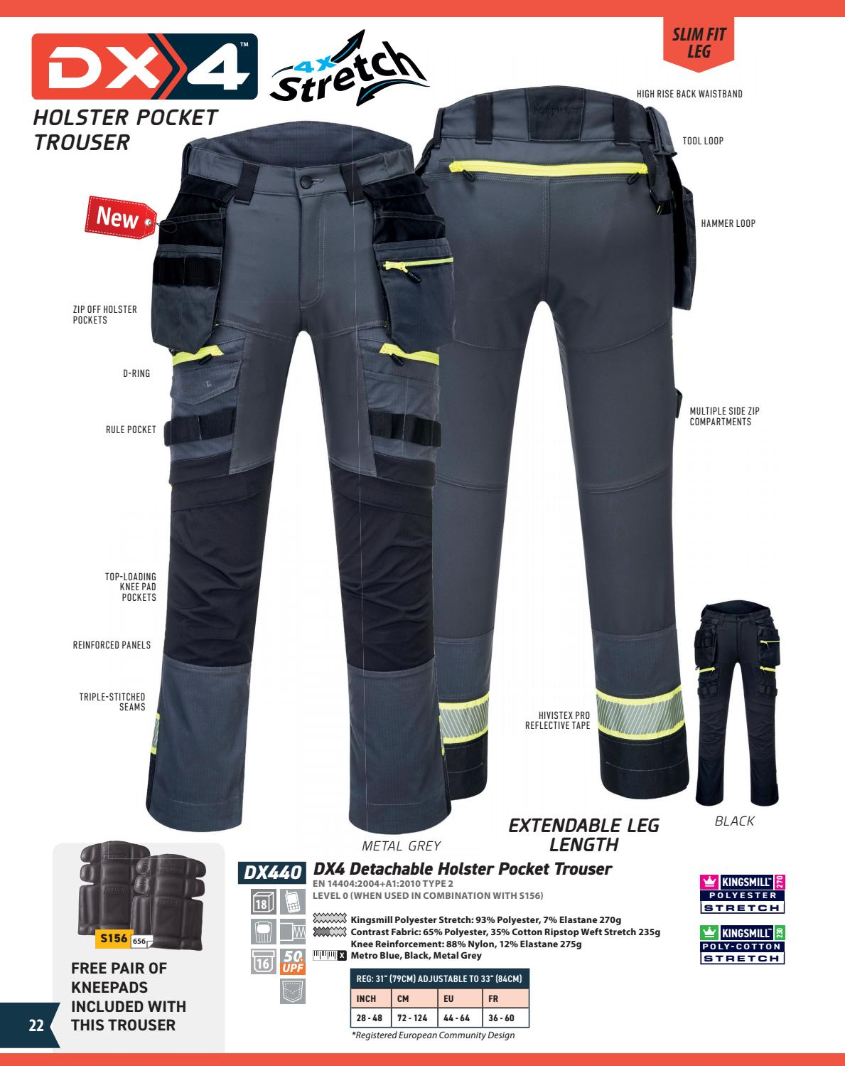 Metro Blue Portwest DX440 DX4 Detachable Holster Stretch Kneepad Work Trouser