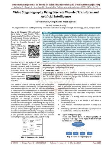 Video Steganography using Discrete Wavelet Transform and