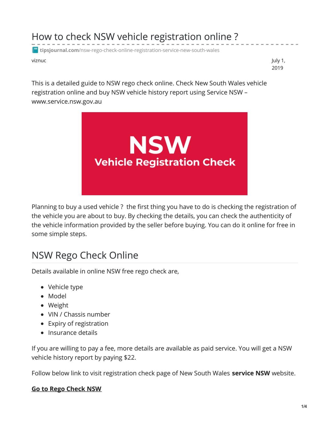 Vehicle History Report Free >> Nsw Rego By Toto Alfredo Issuu