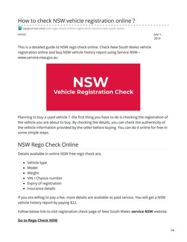 Free Vehicle History Report Online >> Nsw Rego By Toto Alfredo Issuu