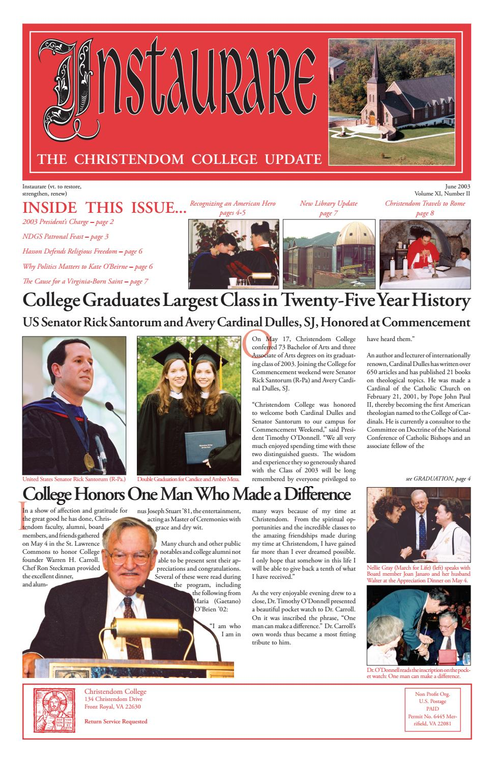Instaurare | Summer 2003 by Christendom College - issuu