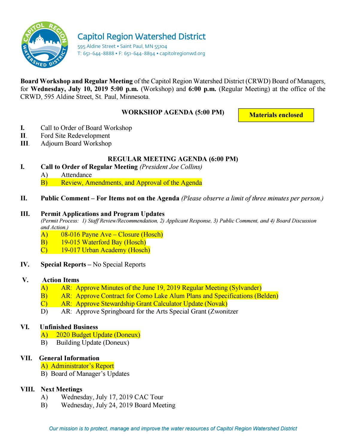 July 10, 2019 Board Packet by Capitol Region Watershed District - issuu